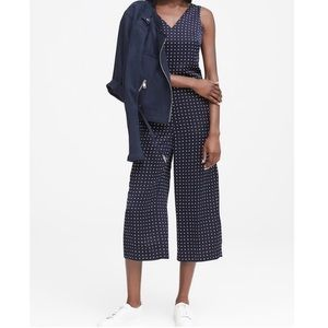 BR Polka-Dot Twist-Back Cropped Jumpsuit